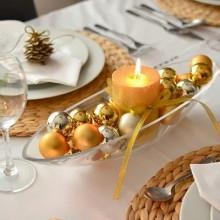 Weihnachten Tisch Mittelstück-gold-Silber-Glas Schüssel-Kerze-ribbon