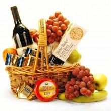 Weihnachts-Geschenk-Korb Ideen Obst-Wein-Käse-gourmet-Korb
