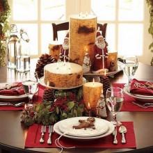 Weihnachts-Tabelle-Dekor-Ideen Herzstück Ideen Kerzen tannenzapfen