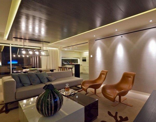 Wohnzimmer design-Ideen, die in Braun-und beige Leder Sessel ...