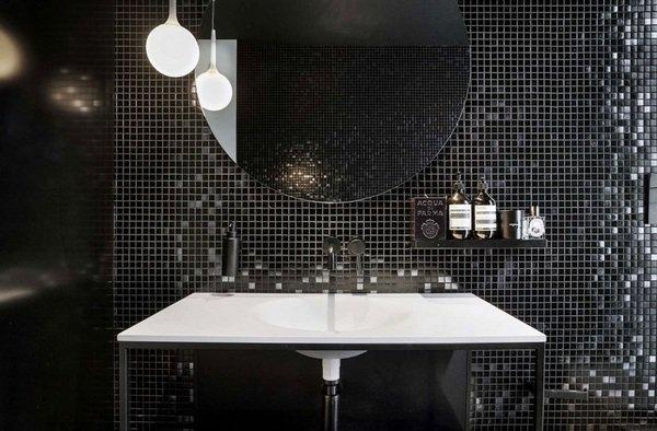 Balck Und Weißen Möbel Mosaik Fliesen, Runde Spiegel Moderne Badezimmer  Design U2013
