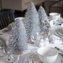 best christmas dinner Tischdekoration Silber-weiß-Tisch-Einstellung-Tee-Kerzen Silber Weihnachtsbäume