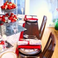 best christmas rot weiß Tisch-Dekor-Ideen-Silber Mittelstück rot weiß Ornamente