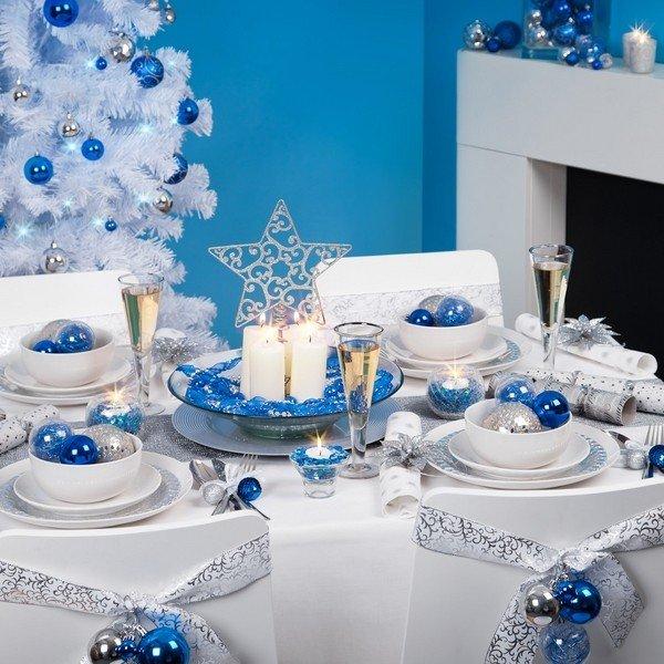 Besten Weihnachts Tisch Deko Ideen Silber Blauen Farben Herzstück Ideen Winter  Wonderland Dekor