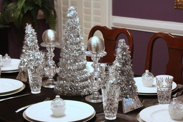 Besten Weihnachts Tisch Silber Dekor Ideen Dekoration Herzstück Ideen