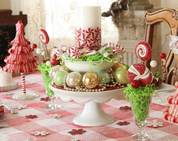 Bunte Weihnachts Dinner Tisch Herzstück Süßigkeiten, Christbaumschmuck  Säule Kerze