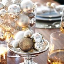 chic Weihnachten Tisch Mittelstück-Ideen-Silber baumschmuck