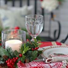 christmas dinner Tischdekoration Silber Tischplatte Bäume Silber-raindeer