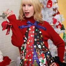 diy hässliche Weihnachts-Pullover-Ideen Weihnachts-Bande-Bänder-Schaltflächen