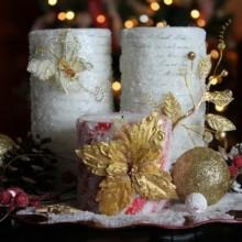 elegant-Ideen zu Weihnachten Tisch Dekoration DIY Herzstück Ideen Säule Kerzen gold Schmetterlinge