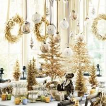 erstaunliche Weihnachts-Tisch-Deko-Ideen-gold-Silber-Tischplatte Bäume Girlanden