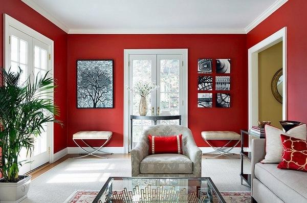 Exklusiven roten wohnzimmer ideen rote wand farben weià fl ...