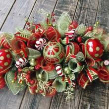 glamouröse Weihnachten Mittelstücke deco-mesh-Ideen, christbaumschmuck rot grün Farben