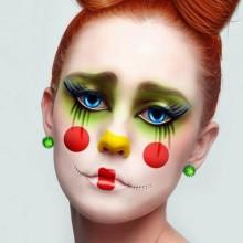 halloween-clown make-up für Frauen DIY make-up Ideen bow Frisur