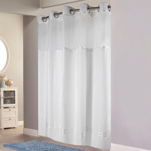 hookless white stripes duschvorhang modernes badezimmer. Black Bedroom Furniture Sets. Home Design Ideas