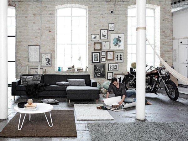 Loft wohnzimmer design ideen ziegel wand schwarz sofa weià ...