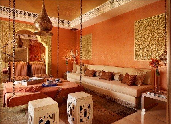 marokkanischen Wohnzimmer design-Ideen mit kräftigen Farben ...