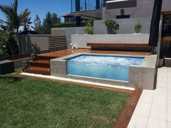 Modern ber boden pool deck ideen holz sonnendeck for Boden modern