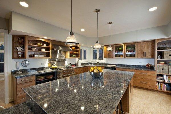 moderne Küche Ideen-Kabinett-Farben für graue Granit ...