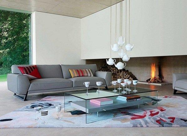 moderne Wohnzimmer-design-weiß-Wand-Kamin bunten Teppich graues ...
