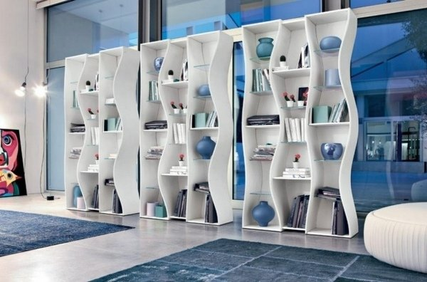 modernen haus bibliothek m bel ideen wei e b cherregale. Black Bedroom Furniture Sets. Home Design Ideas