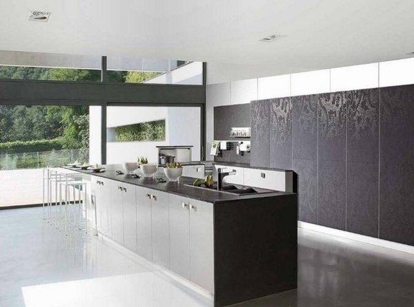 modernen Küche design-Ideen minimalistische Küche Grau-Schränke ...
