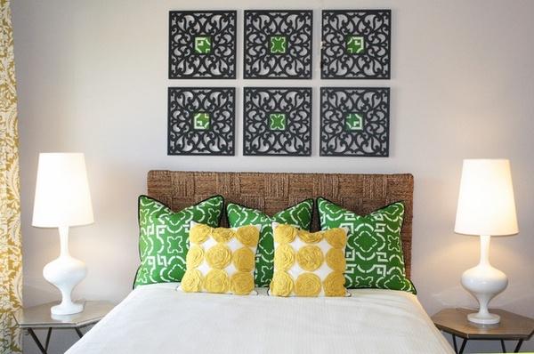 modernes Schlafzimmer design Runde Nachttische Seegras-headb ...