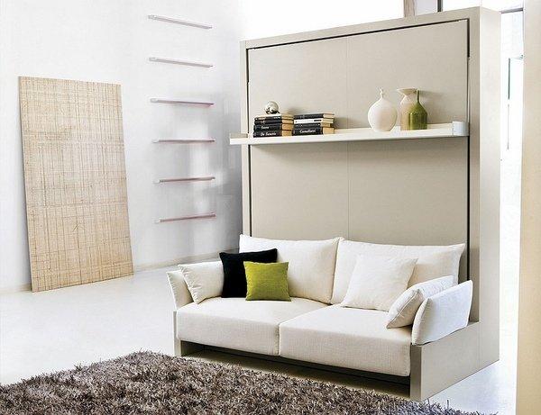 murphy-Bett mit sofa vor offenem Regal-modern-Möbel-Ideen kleines ...
