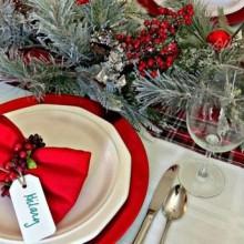 rot weiß Weihnachten Tisch Deko-Ideen Tee-Kerzen tablewear rote Gläser