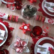 rot weiß Weihnachten Tisch Deko Tischdecke Tischläufer Kerzen äpfel