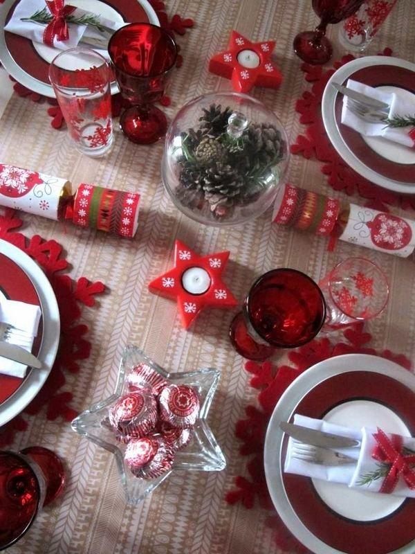 Rot Weiss Weihnachten Tisch Deko Tischdecke Tischlaufer Kerzen Apfel