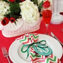 rot weiß Weihnachten Tisch Dekoration Ideen Serviette Tafelaufsatz
