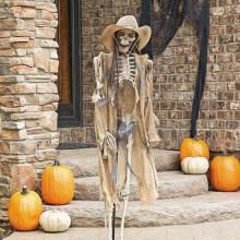 scary halloween-Dekorationen, Tür-Dekor-Ideen-Skelett-cowboy Kürbisse