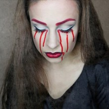 simple einfache halloween makeup Ideen für Frauen blutige Tränen make-up