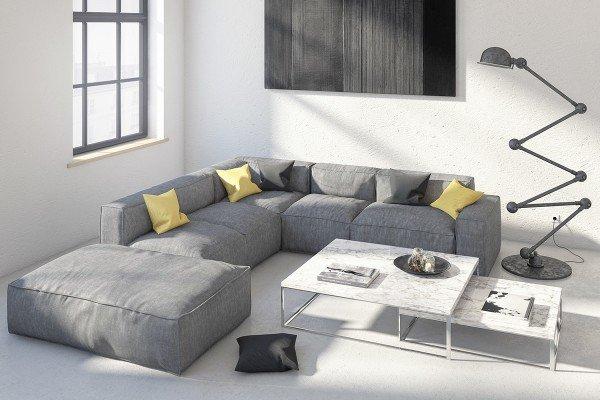 skandinavisches Wohnzimmer-design-Ideen-weiß und Grau, Dekor-Grau ...
