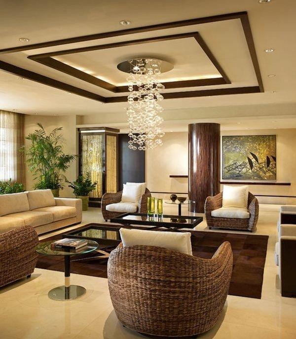 spektakuläre Deckengestaltung Wohnzimmer Dekor-Ideen beige Braun ...