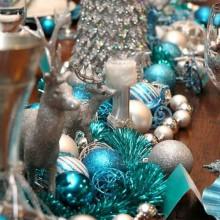 table Deko-Ideen-Silber-blauen Farben der winter wonderland Thema Ideen