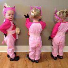 trio halloween Kostüme Ideen, halloween-Kostüme für Kinder die drei kleinen Schweinchen