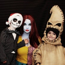 trio halloween-Kostüme Ideen nightmare before christmas-halloween-Kostüme für Familien