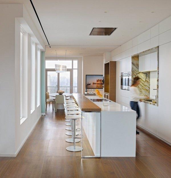 weiße Küche Insel mit Holz-bar-Frühstück-bar-Ideen-moderne ...