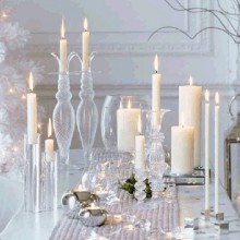 winter wonderland Deko-Ideen Tischdekoration Ideen weißem Glas Kerzen