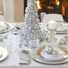 winter wonderland Dekorationen Tisch Dekoration Ideen-Silber-weiß-Dekorationen Kerzen