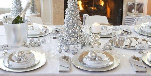 Winter Wonderland Dekorationen Tisch Dekoration Ideen Silber Weiss