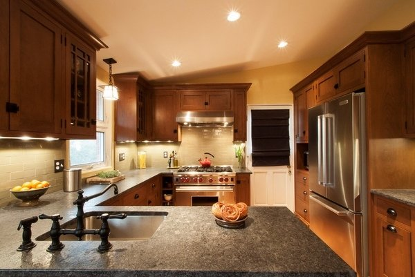 zeitgenössische-Küche-design-Grau Granit-Arbeitsplatten-Holz ...