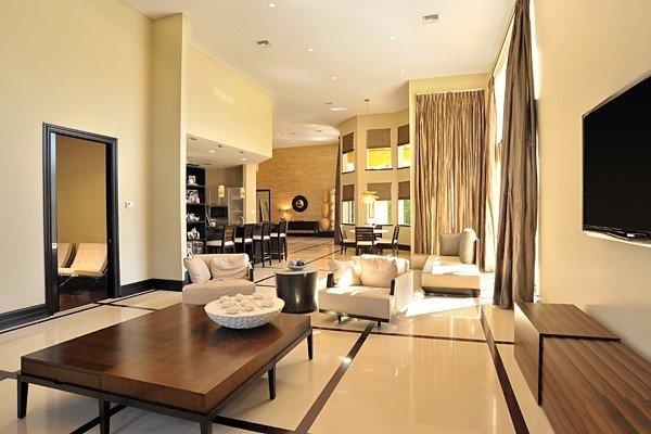 zeitgenössische Wohnzimmer design Braun beige Farben-Holz Möbel ...