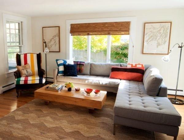Bambus-Vorhänge und Jalousien-moderne Wohnzimmer-design-Grau-sofa ...
