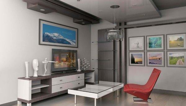 Deko-Ideen für kleine Wohnzimmer-minimalistischen-Stil-Möbel-rot ...