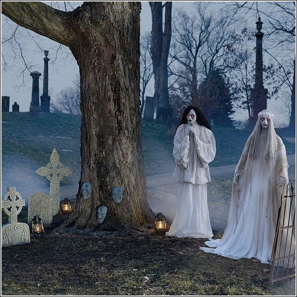 halloween deko ideen requisiten geister friedhof gunstig