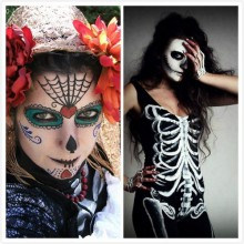 halloween-kostueme-fuer-frauen-ideen-skelett-make-up-ideen-halloween-party