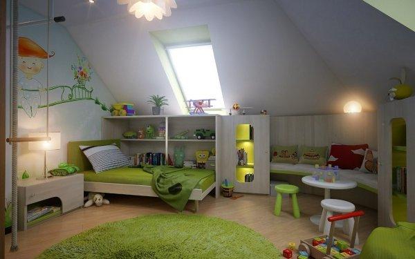 kinder-zimmer-mit-dachschraege-moebel-ideen-gruene-wandmalerei ...